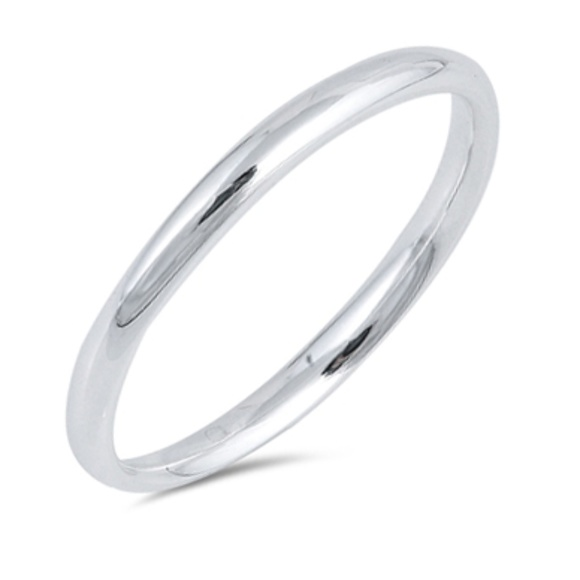 Jewelry - 2mm .925 Sterling Silver plain Band Ring sz 3-13